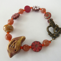 SALE red and gold bird bracelet