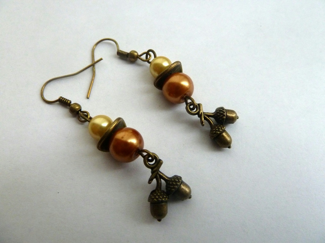 SALE acorn earrings