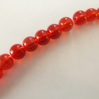 red 6mm glass beads