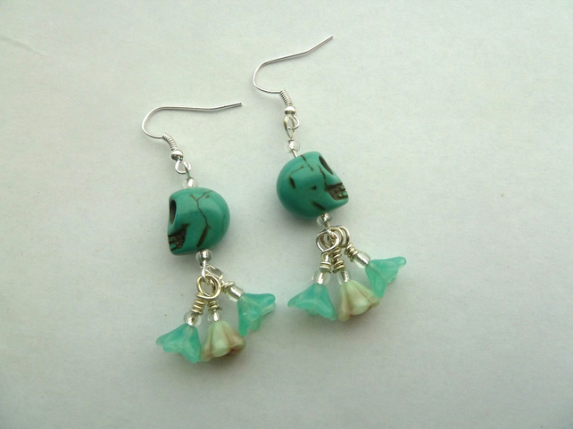 SALE turquoise skull earrings