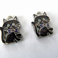 2 enamel cat charms