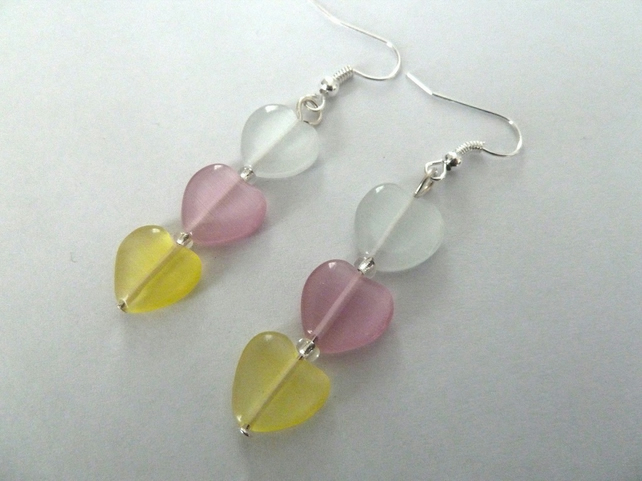 SALE pastel heart earrings