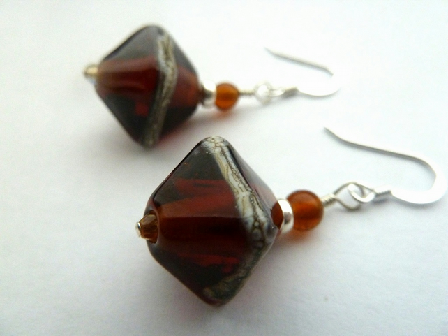 sterling silver lampwork earrings, amber