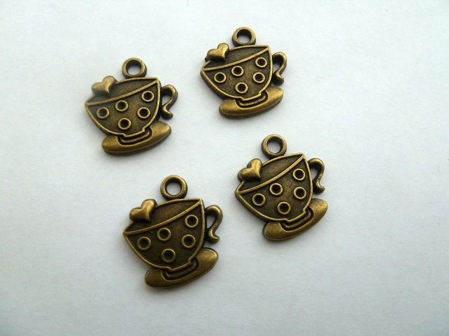 SALE bronze tea cup charms
