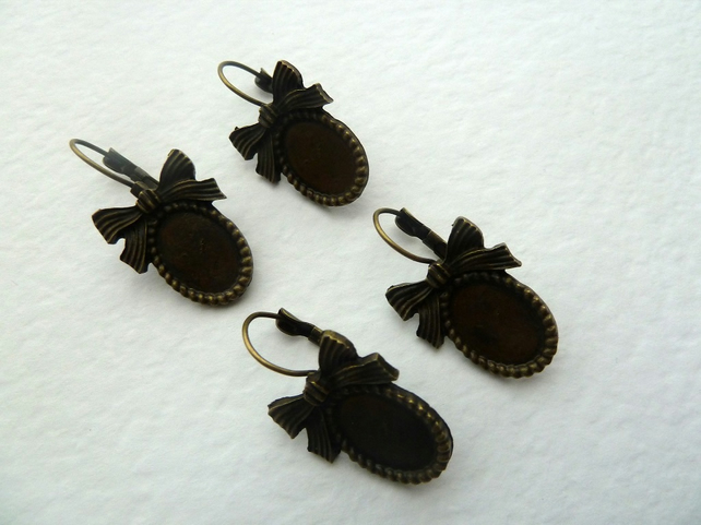 SALE bronze lever back earrings bows