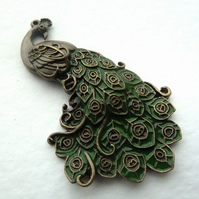 SALE bronze peacock pendant