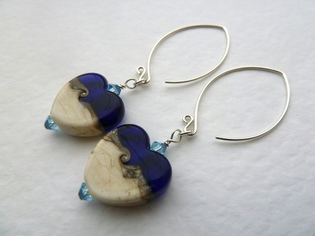 Sterling silver lampwork earrings, blue hearts