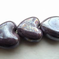 3 purple ceramic hearts