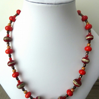 sterling silver red lampwork necklace