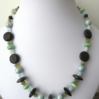 lampwork and lava necklace