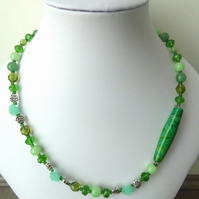 SALE green lampwork necklace