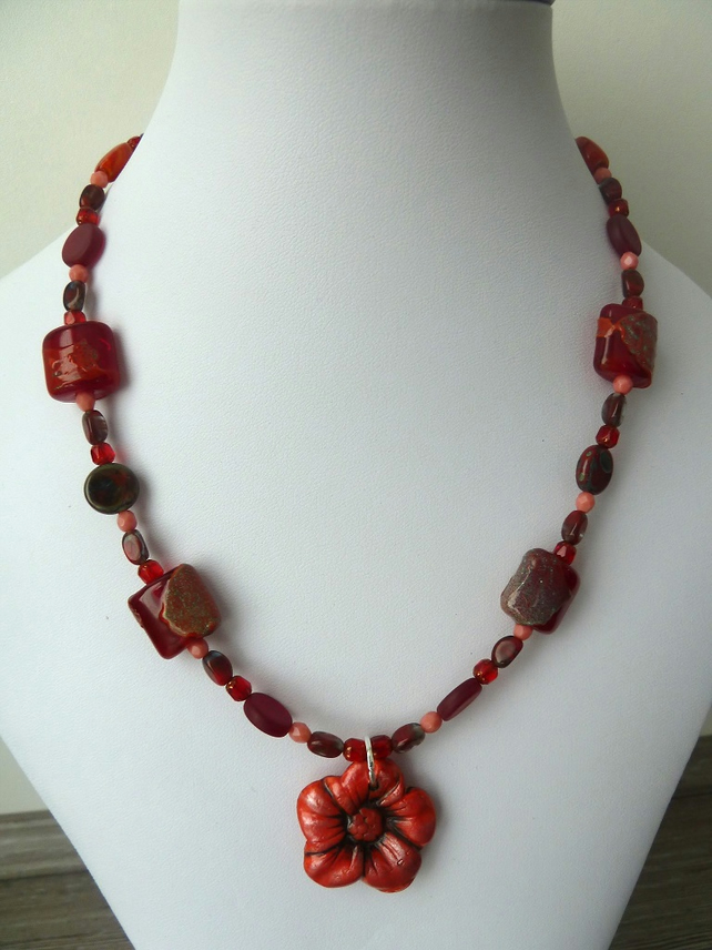 SALE red poppy necklace