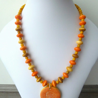 SALE orange flower necklace