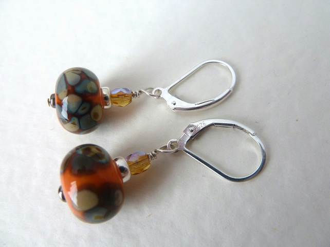 orange lampwork sterling silver earrings