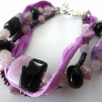SALE three strands, purple and black