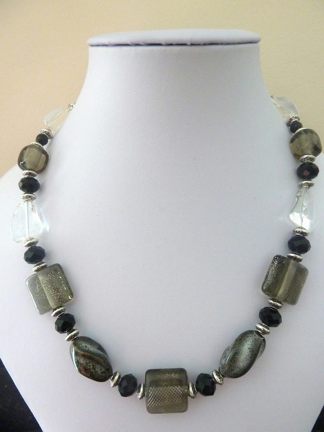 SALE grey lampwork glass necklace