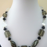 grey lampwork glass necklace