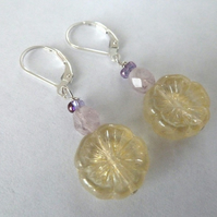 SALE lemon flower sterling silver earrings