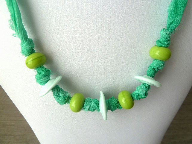 SALE green silk and lampwork necklace