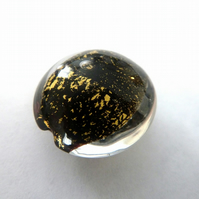 black and gold leaf lampwork focal bead