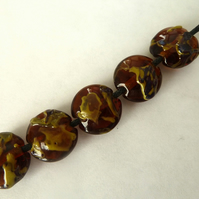 handmade lampwork glass beads, amber shards