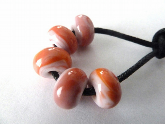 handmade lampwork glass beads, sunset