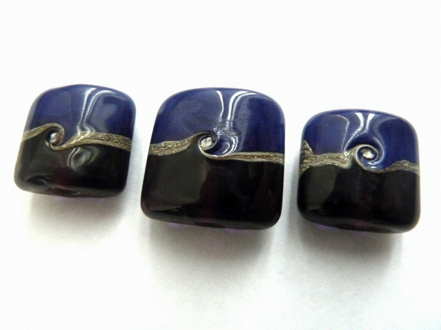 handmade lampwork glass beads, blue and purple