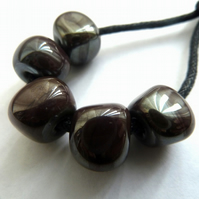 handmade lampwork glass beads, metal nuggets