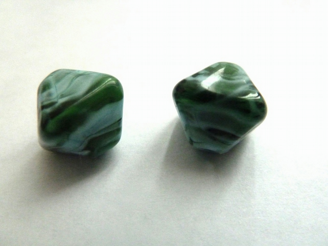 handmade lampwork glass beads, diamond sea pair