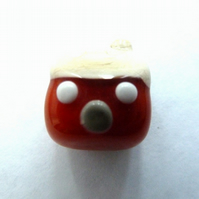 handmade lampwork glass bead, red cottage