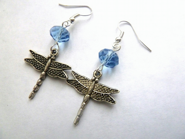 SALE blue dragonfly earrings