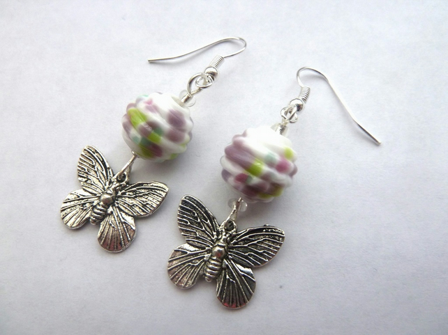 lampwork butterfly earrings
