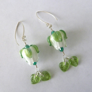 handmade lampwork rose earrings, sterling silver