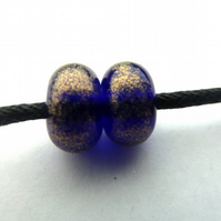 blue and gold glitter, handmade lampwork glass beads