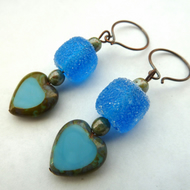 blue heart copper earrings