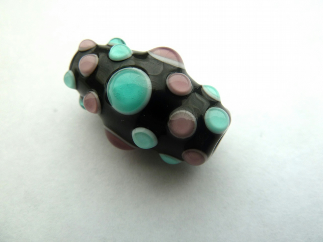 purple and green spotty focal bead