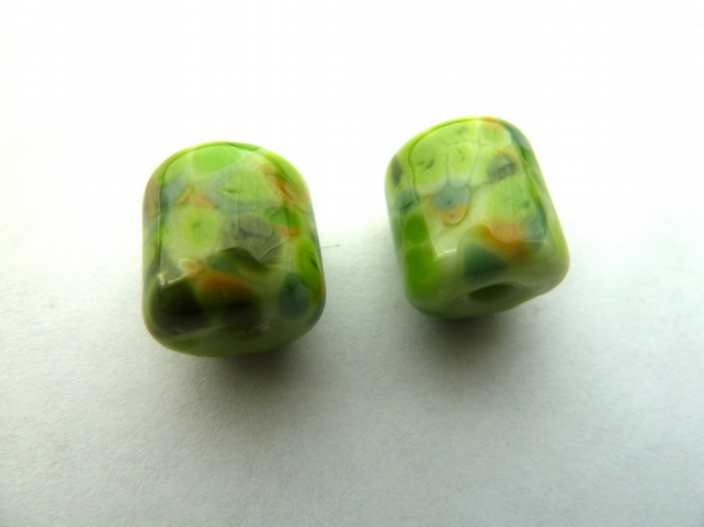 green barrel bead pair