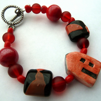 SALE ceramic and lampwork red house bracelet