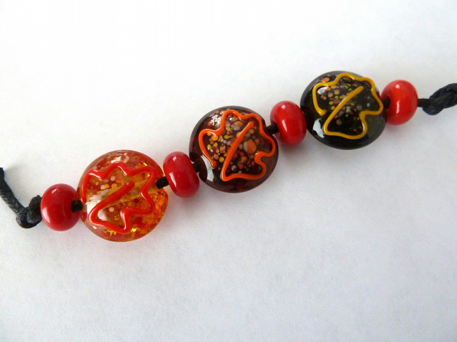 SALE autumn leaves handmade beads