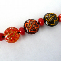 autumn leaves handmade beads