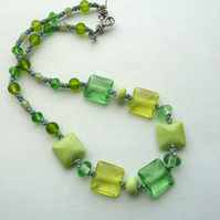 lampwork lemon and lime necklace