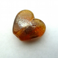 amber and silver heart handmade lampwork bead