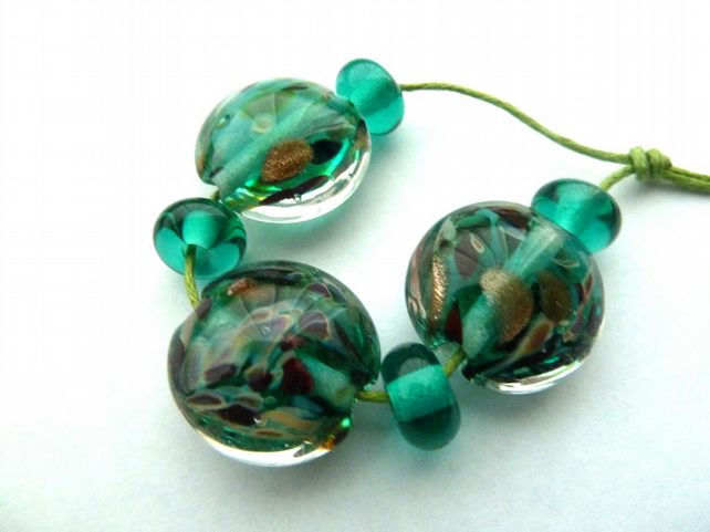 teal and goldstone beads