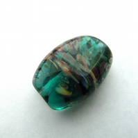 teal and goldstone focal bead
