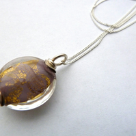 purple and gold lampwork necklace