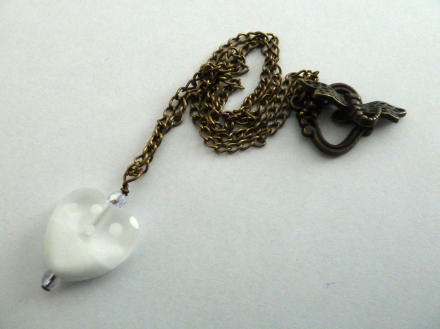 white lampwork heart necklace