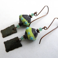copper and lampwork earrings