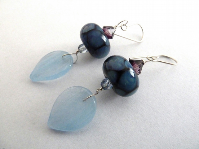 silver lampwork earrings