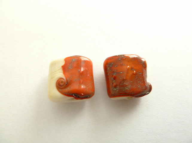 coral and ivory pillow beads
