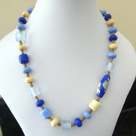 blue sea lampwork necklace